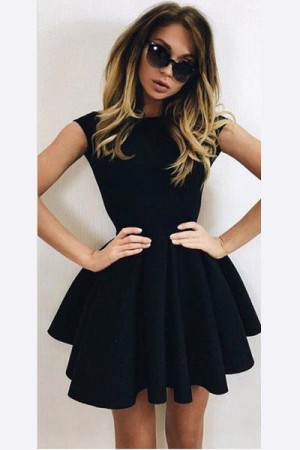 A-Line Homecoming Dresses,Black Ball Gown Backless Short Prom Dress – Ombreprom