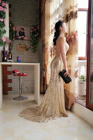 Sheath Sweep Train Deep V Neck Sleeveless Backless Sparkle Long Prom Dress – Ombreprom