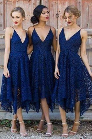 A Line Tea Length Deep V Neck Spaghetti Sleeveless Cheap Bridesmaid Dresses – Ombreprom