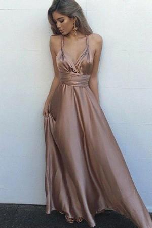Pastel Pink A Line Floor Length Deep V Neck Sleeveless Backless Prom Dress – Ombreprom