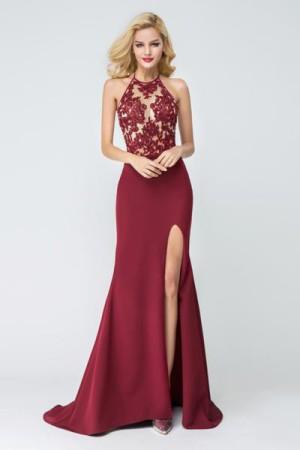 Shop Mermaid Side Slit Sleeveless Floor-length Prom Dresses On Sale – Ombreprom
