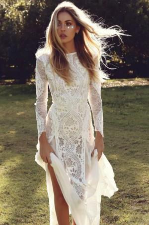 White Sheath Brush Train Long Sleeve Backless Lace Wedding Dress – Ombreprom