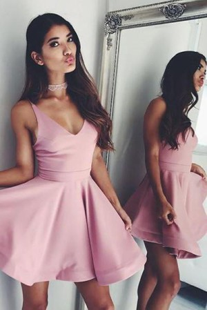 Cute Sleeveless Simple V Neck Satin Short Homecoming Dresses M441 – Ombreprom
