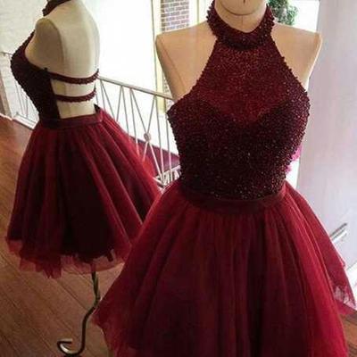 Halter Homecoming Dress,Sleeveless Open Back Beading Short Prom Dress – Ombreprom