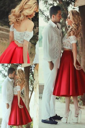 Red Off-Shoulder Two Piece White Lace Short Prom Dresses, Tea-Length Homecoming Dress M319 ̵ ...