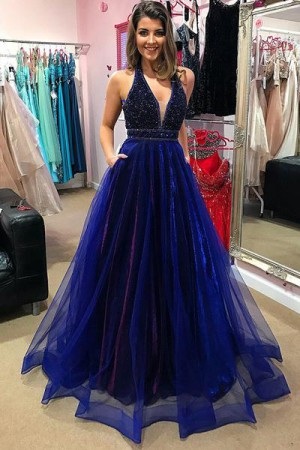 Royal Blue Beading A-Line Plunge Neckline Organza Prom Dress with Pockets P590 – Ombreprom