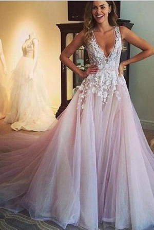 Chic Flower Appliqued Light Pink Wedding Dresses With Chapel Train Bridal Gown W305 – Ombr ...