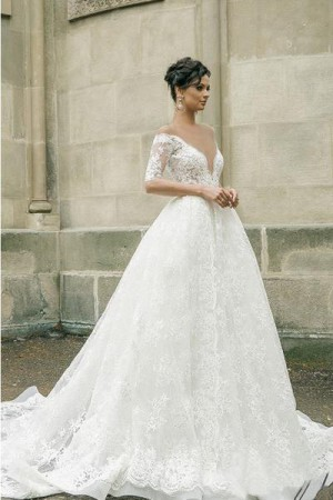 Half Sleeves Sheer Deep V-neck Lace Applique Ball Gown Illusion Back Wedding Dress, W318 – ...