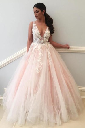Pink A Line Floor Length Deep V Neck Sleeveless Appliques Wedding Dress – Ombreprom