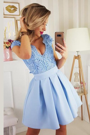 Charming V Neck Appliques With Bowknot Homecoming Dress M571 – Ombreprom