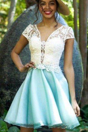 Chic V Neck A Line With Appliques Short Sleeves Homecoming Dress M577 – Ombreprom