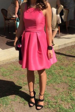 Charming Sleeveless Satin Knee Length A Line Homecoming Dress M630 – Ombreprom