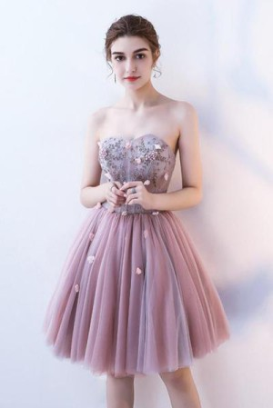 Charming Strapless Sweetheart Tulle A Line Homecoming Dress M619 – Ombreprom