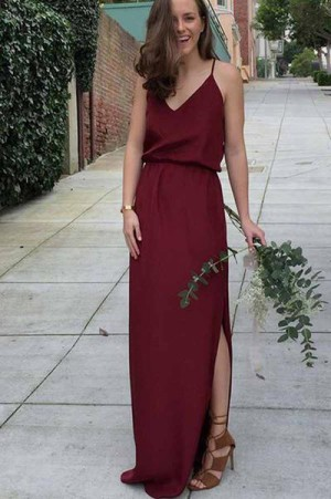 Chic Burgundy Spaghetti Straps Chiffon With Split Side Bridesmaid Dress B386 – Ombreprom