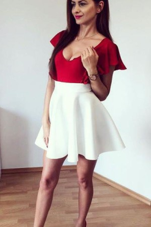 Chic Deep V Neck Short Sleeves Satin A Line Homecoming Dress M620 – Ombreprom