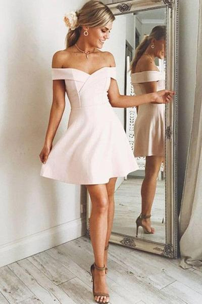 Chic Off the Shoulder Satin A Line Knee Length Homecoming Dress M627 – Ombreprom