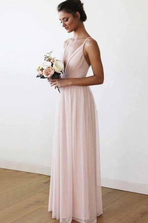 Chic Red Spaghetti Straps Sleeveless Floor Length Bridesmaid Dress B380 – Ombreprom