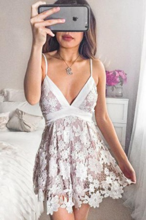 Cute Spaghetti Straps V Neck With Appliques Homecoming Dress M626 – Ombreprom