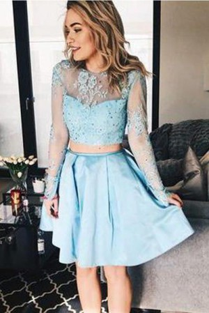 Cute Two Pieces Round Neck Long Sleeves Lace Homecoming Dress M601 – Ombreprom