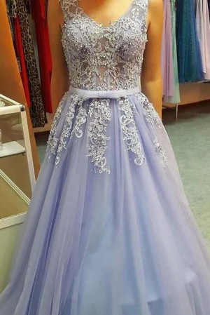 Delicate V Neck Open Back Floor Length With Lace Appliques Prom Dress P640 – Ombreprom