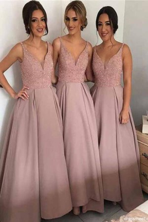 Delicate V Neck With Sequins Ankle Length Sleeveless Bridesmaid Dress B390 – Ombreprom