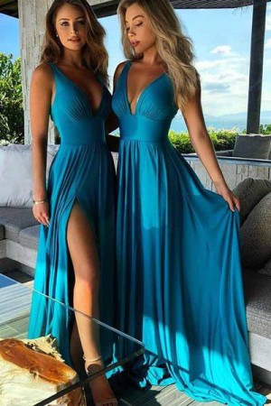 Elegant Deep V Neck Sleeveless With Split Side Bridesmaid Dress B387 – Ombreprom