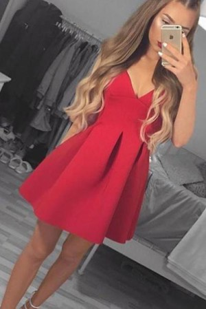 Elegant Red V Neck Satin A Line Knee Length Homecoming Dress M628 – Ombreprom