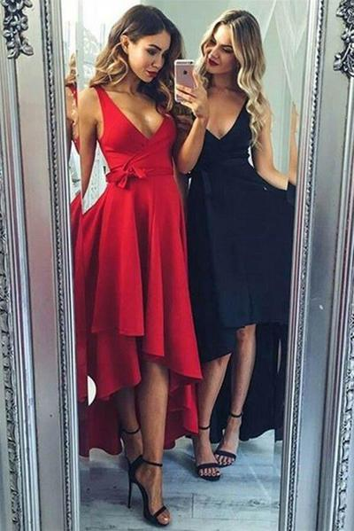 Elegant V Neck Satin High Low With Bowknot Homecoming Dress M596 – Ombreprom