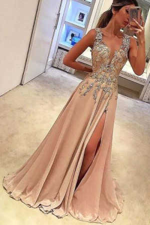 Elegant V Neck Sleeveless Appliques With Split Side Prom Dress P642 – Ombreprom
