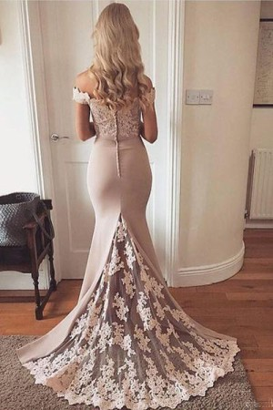 Gorgeous Off the Shoulder With Lace Appliques Prom Dresses P639 – Ombreprom