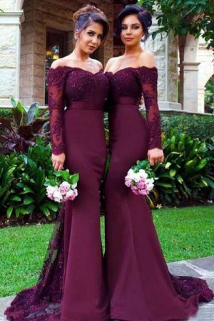 Impressive Burgundy Off the Shoudler Lace Long Sleeves Bridesmaid Dress B389 – Ombreprom