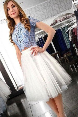 Impressive Two Pieces Short Sleeves Lace Tulle Homecoming Dress M622 – Ombreprom