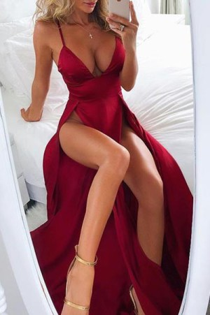 Luxury Red Spaghetti Straps V Neck With Split Side Prom Dress P653 – Ombreprom