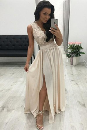 Luxury V Neck Sleeveless Chiffon Appliques With Split Prom Dresses P638 – Ombreprom