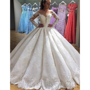 2018 Scoop Long Sleeves Ball Gown Wedding Dresses Tulle With Applique Sweep Train #Scoop #LongSl ...