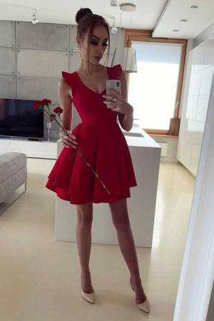 Sexy Red Satin Sleeveless A Line V Neck Homecoming Dress M593 – Ombreprom