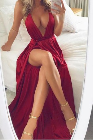 Stunning Red Spaghetti Straps V Neck With Split Side Prom Dress P654 – Ombreprom