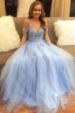 Sweetheart Spaghetti Straps Tulle With Beading Prom Dress P641 – Ombreprom