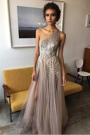 A Line Floor Length One Shoulder Sleevless Beading Side Slit Prom Dress – Ombreprom