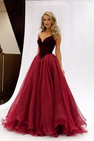 A Line Sweetheart Strapless Sleeveless Mid Back Layers Tulle Prom Dress – Ombreprom