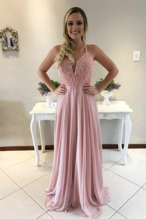 Chic Pink Spaghetti Straps Chiffon With Handmade Beading Prom Dress P718 – Ombreprom