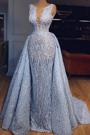 Elegant Blue Lace Sleeveless Deep V Neck Prom Dress Party Dress P685 – Ombreprom