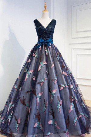 Gorgeous A-Line V-Neck Navy Blue Tulle With Appliques Prom Dress P718 – Ombreprom
