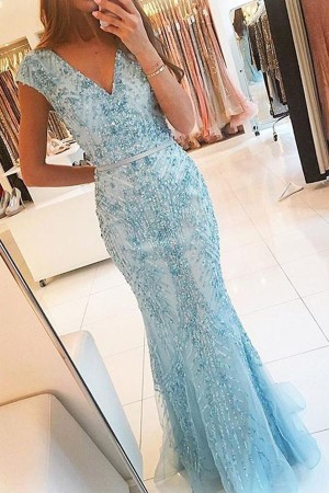 Light Blue Trumpet Floor Length Capped Sleeve Beading Cheap Prom Dress – Ombreprom
