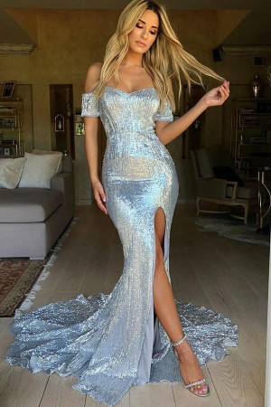 Stunning Mermaid Sweep Train Off the Shoulder With Split Prom Dress P719 – Ombreprom
