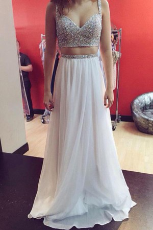 Stunning Two Pieces Spaghetti Straps Sweetheart With Beading Prom Dress P716 – Ombreprom
