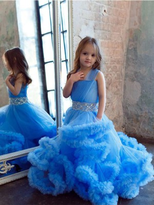 A-line Halter Tulle Flower Girl Dress Beads Ruffles [VIVIDRESS12718] – R2100 : vividress.co.za