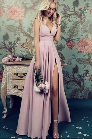 Charming Deep V Neck Straps Satin Floor Length Prom Dresses P613 – Ombreprom