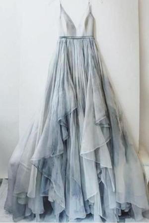 Charming Ruffles Spaghetti Straps V Neck A Line Prom Dress P673 – Ombreprom