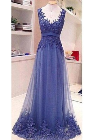 Simple Backless See Through Lace Appliques Floor Length Formal Prom Dress P803 – Ombreprom